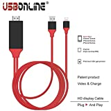 Subhah 8 Pin Lightning To HDMI Cable HDTV Adapter Apple iPhone 7 Plus 7 6S 6 Plus SE 5S iPad Air iPad Mini Pro - No Hotspot Wifi Internet Needed - Plug N Play - iOS 10 Supported (RED) length 2