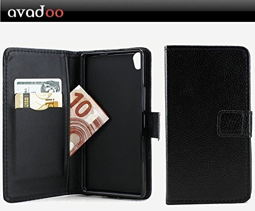 avadoo® Archos Diamond S Flip Case Cover Tasche Schwarz mit Magnetverschluss und Dualnaht als Cover Tasche Hülle