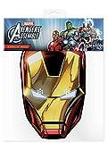 Iron Man - Marvel Maske Papp Maske, aus hochwertigem Glanzkarton mit Augenlöchern, Gummiband - Grösse ca. 30x20 cm