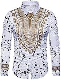 Clothes m Camisa de Hombre Estilo éTnico Estampado de Tinta De Salpicadura  Manchado Cuello de Manga Larga 490772e92ae9
