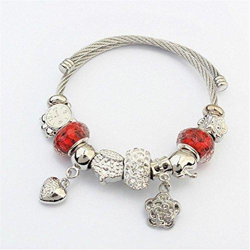 CLYZ Moda braccialetto del cuore di fiori di pesco la sfera di cristallo perline amore-cuore braccialetto farfalla red - Croce Anelli Dell'orecchio