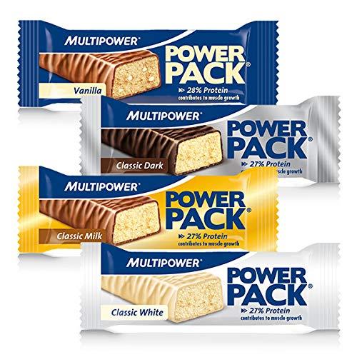 Multipower Power Pack Mix Box Protein Riegel, Eiweißriegel mit 27{b73fe8d6395ca80bd6fbec9edaadc3ebbd1db873e51523d7361b02dec34a93b9} Protein, klassischer Power Bar als gesunder Sport-Snack, in 4 leckeren Geschmacksrichtungen, 24 x 35 g