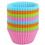 Confezione da 24Pirottini per muffin silicone pirottini per muffin, riutilizzabile, antiaderente stampi per muffin, Brownie, Cup cake, Dolci, budino in 4colori 7cm