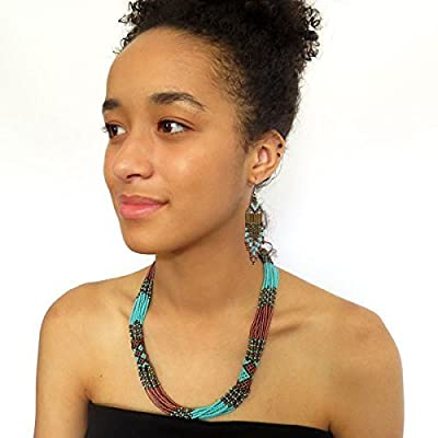 Collier en perles Sud Africain Zoulou - Bronze et turquoise