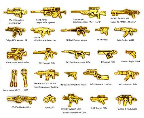 Magma Brick : Forze Speciale mitragliatrice d'oro, fucile mitragliatore d'oro, pistola d'oro 24 pezzi per personalizzare le minifigure di LEGO.