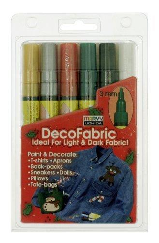Uchida 222-6-Xmas 6-Piece Xmas Decofabric Marker Set by Uchida - Decofabric Marker