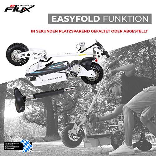 E-Scooter Roller Original E-Flux Freeride 1000 Watt 48 V mit Licht und Freilauf Elektroroller E-Roller in vielen Farben (weiß) - 6