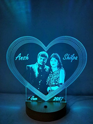 Apna Photo Acrylic Colour Changing 3D Illusion LED Night Lamp with Personalised Photos (Multicolour)