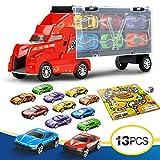 Lenbest Camion Trasportatore, Custodia Portatile per le Auto Giocattolo Vettore Compreso un Totale di 12 Mini Veicoli e Mappa del Gioco di Corse
