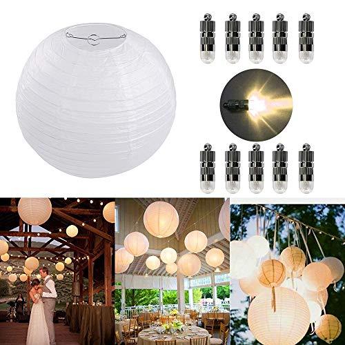 10er Papierlaterne 30cm Weiß Lampions + 10er Warmweiße Mini LED Ballons  Lichter, Rund Lampenschirm