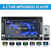 Masione Bluetooth Auto Radio Audio MP5 Player - 6,2 Zoll Touchscreen mit 2 DIN In Dash - Unterstützung Freisprechen, Film, Musik, Foto, DVD, AV IN, USB TF Karte und Wireless Fernbedienung