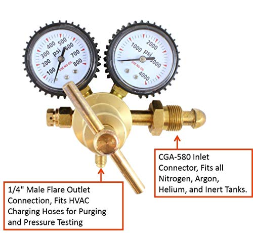 HUKOER Nitrogen Regulator with 0-600 PSI Delivery Pressure, CGA580 Inlet Connection and 1/4-Inch Male Flare Outlet Connection for Purging and Testing Needs