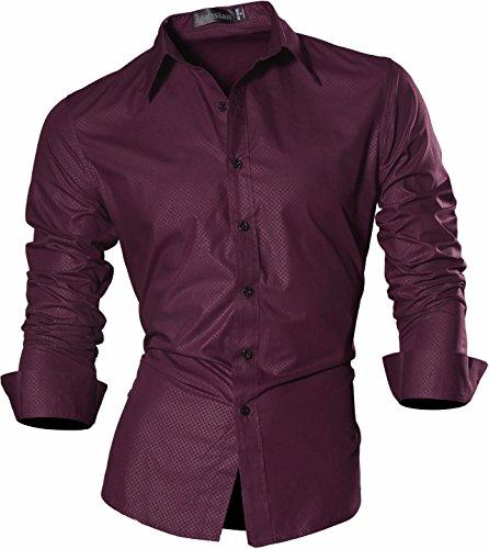 jeansian Herren Freizeit Hemden Shirt Tops Mode Langarmlig Men's Casual Dress Slim Fit Z029 Z029_WineRed