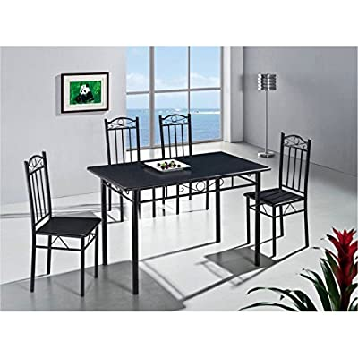 New Black Kitchen Dining Table and 4 Chairs 5 Piece - cheap UK dining table shop.