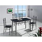 Quidin - Mesa de comedor y cocina con cuatro sillas, colo negro
