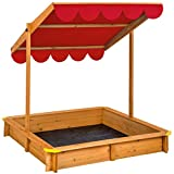 TecTake Sand pit with adjustable roof sun protection outdoor games wooden sandbox - different colours - (Red | No. 402221)