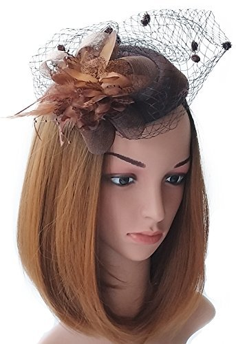 Fascinator Hut-Pillbox-Hut Britischer Bowler-Hut-Blumen-Schleier-Hochzeits-Hut-Tee-Party-Hut (Pillbox Kostüm Mit Hut)