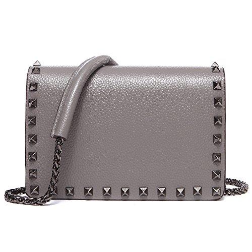 Mefly Il primo strato di pelle costellata di borsette in cuoio borsa a tracolla Borsa catena Crossbody Bag Black Dark grey