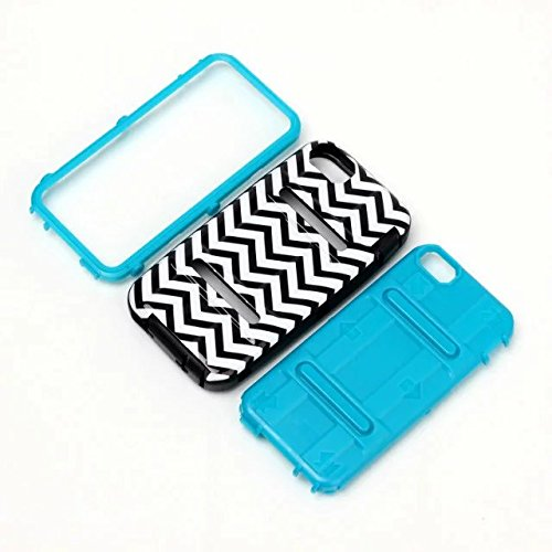 iPhone 5S Coque,iPhone SE Coque,Lantier 3 IN 1 [Hard PC+Soft TPU Silicone] Black White Wavy Lines antichoc Résistance Chute hybride Armure Housse de protection pour Apple iPhone 5 5S SE Violet Wavy Lines Blue