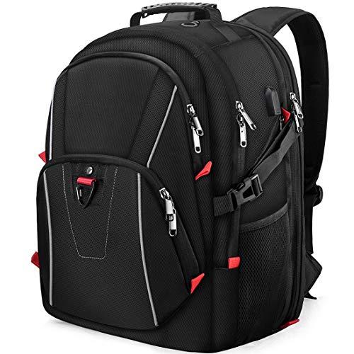 Laptop Rucksack Herren 17,3 Zoll Notebook Wasserdicht Großer 17 Zoll Schulrucksack USB Ladeanschluss Business Travelite TSA Freundlich Daypack für Schule Universität Schwarz