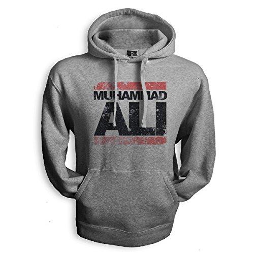 net-shirts ALI - BROKEN Hoodie Kapuzenpullover mit Aufdruck ALI vintage style viele Größen und Farben, Größe M, Graumeliert