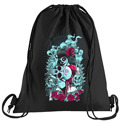 (T-Shirt People La Catrina Muerte Sportbeutel – Bedruckter Beutel – Eine schöne Sport-Tasche Beutel mit Kordeln)