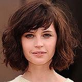 SHKY Pelucas onduladas del pelo corto del estilo de las nuevas de Shoudler Longitud de moda de las mujeres del pelo pelucas cortas del pelo de Brown para el uso diario