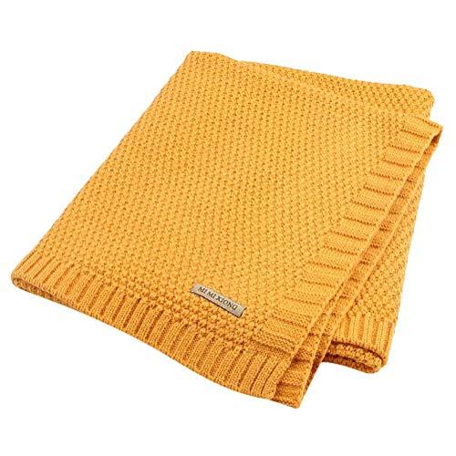 Tomwell bambino maglieria coperta neonati baby sacco swaddle sacco nanna passeggino sacco a pelo giallo 100x80 cm