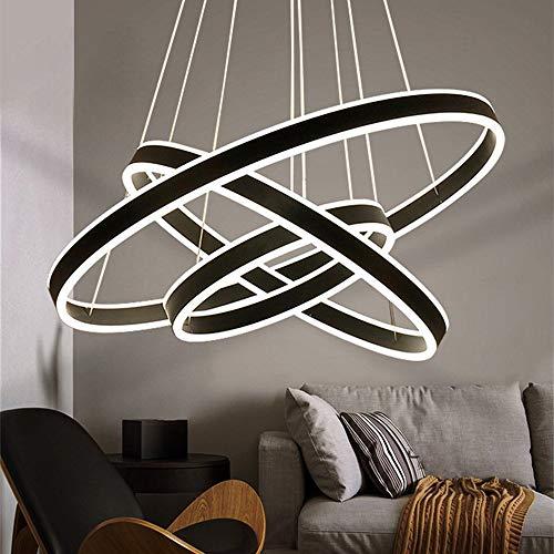 LED Lampe Dimmbar Pendelleuchten Schwarz Aluminium und Weiß Acryl Esszimmer Deckenleuchte Schlafzimmer Wohnzimmer Küche Esstisch Kronleuchter 3 Ring Rund Rahmen auf und ab Beleuchtung Hängeleuchte