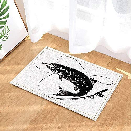 hdrjdrt 1 schwarzer Riesenfisch gefangen von schwarzer Angelrute auf weißem Hintergrund Badezimmermatte weich saugfähig Umweltschutz rutschfest
