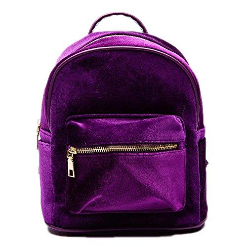 Rucksack Backpacker Womens (Frauen samt Rucksäcke lässigen Stil Mädchen Reißverschluss Taschen Schulranzen für Mädchen im Teenageralter Puple 23 x 25 x 12 cm)