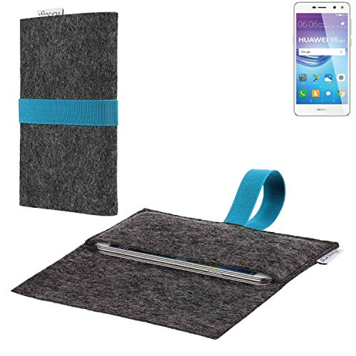 flat.design vegane Handy Hülle Aveiro für Huawei Y6 2017 Single SIM passgenaue Filz Tasche Case Sleeve Made in Germany