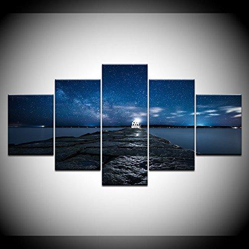 LANKMET0 Bilder 5-teilig Leinwandbilder Bild Moderne Poster Leinwandbilder 5 Stücke Strand Pier Brücke Sternenhimmel Gemälde HD Druck Dekoration Wandkunst Gürtelrahmen (Einem Brücke Zu Eine Sternenhimmel)