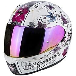 Scorpion Casco de moto Exo 390 Chica Perle color blanco/lila, tamaño S