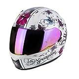 Casco de moto Exo 390 Chica Perle de Scorpion; color blanco/lila, tamaño S