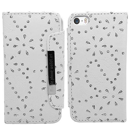 SAMRICK 2-in-1Bling Diamante Floral Blumen Executive Leder Buch Wallet Cover Schutzhülle mit Kredit/Visitenkarten-Halter für Apple iPhone 5/5S, Violett Weiß