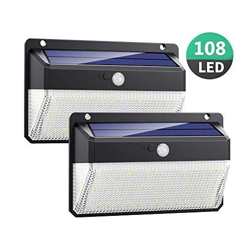 YQJJZX Outdoor super helle 108 led motion sensor sicherheitsbeleuchtung solar wandleuchten solarbetriebene lichter drahtlose wasserdichte mit 3 modi für garten außerhalb (2 paket) (Außerhalb Solar-licht)