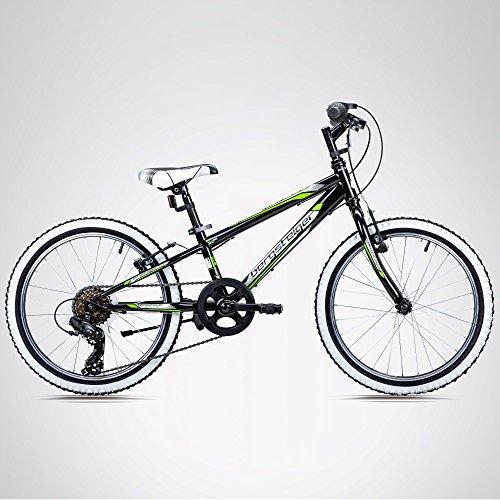 Bergsteiger Kansas 20 Zoll Kinderfahrrad, geeignet für 6, 7, 8, 9 Jahre, Shimano 6 Gang-Schaltung, Mountainbike mit Weißwandbereifung, Jungen-Fahrrad, Mädchen-Fahrrad