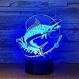 USB-Stromversorgung Dekorativ Fisch 7 Farben Fernbedienung Optische Illusion Nachtlicht 3D Visualisierung Tisch Schreibtisch Lampen 3D Leuchten LED Lampe Kunst Skulptur Lichter Tragbare Schlaflicht Ki