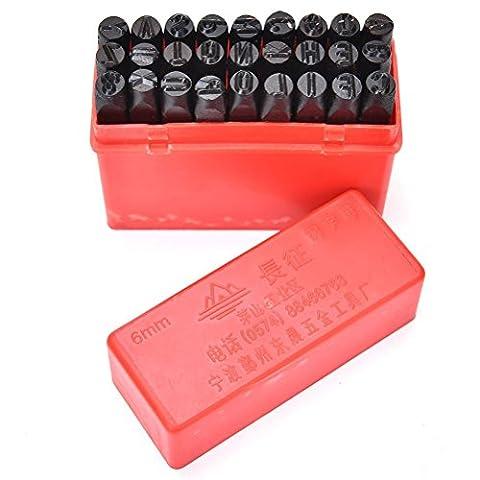 wetrys Stahl Set Stempel sterben Punch Metall 27pcs Briefmarken Buchstaben Alphabet Craft Tools, Karbonstahl, 6 mm