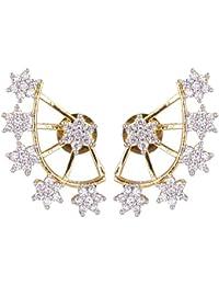 Shining Diva Gold Plated Ear Cuff Earrings for Women(Golden)(7626er)