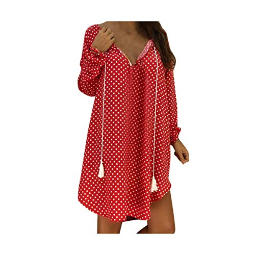 Dress Women Sexy Polka Dot Print Loose Long Sleeves V-Neck Evening Party Dress Slim Soft Touch Dresses Summer 2019 Red 5XL -