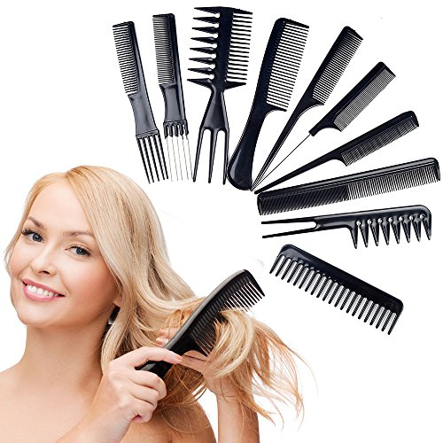 10pcs Pro Hair Salon de coiffure Styling Coiffeur antistatique Barbiers Combs Set Black