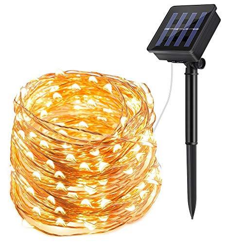 Trylight - catena di 200 luci a led a energia solare, luce bianca calda, 22 m, filo di rame, 8 modalità di illuminazione, impermeabili, ip65, per interni ed esterni, per natale, matrimonio, halloween