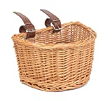 child`s Kid` Small, Traditional Wicker Bicycle Front Basket with Adjustable Straps. Children`s/Kids/Girl`s Boy`s Bike