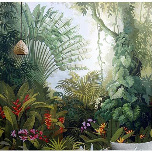 Finloveg Papier Peint Personnalisé Home Decor Murale Médiévale Main Dessinée Forêt Tropicale Humide Paysage Tv Fond Mur 3D Papier Peint-120X100Cm