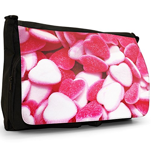 Fancy A Bag Borsa Messenger nero Jelly Fruit Tot Sweets Candy Red & White Jelly Heart Strawberries