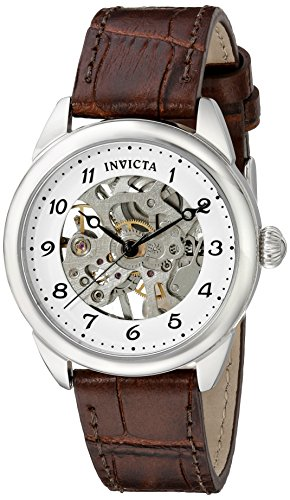 INVICTA WOMEN'S SPECIALTY BLACK LEATHER BAND STEEL CASE MECHANICAL WATCH 17198