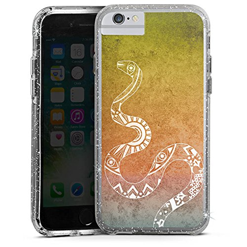 Apple iPhone 6 Plus Bumper Hülle Bumper Case Glitzer Hülle Mandala Schlange Snake Bumper Case Glitzer silber
