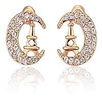 JewelleryClub oro rosa placcato gli elementi di Swarovski di cristallo Crecsent Luna orecchini per le donne